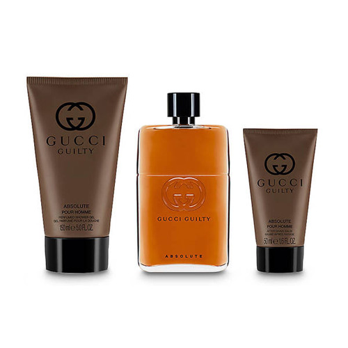 GUCCI GUILTY ABSOLUTE POUR HOMME 3 PCS GIFT SET FOR MEN - FragranceCart.com fb366a2aaa89c