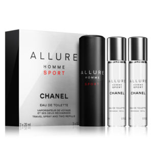 CHANEL ALLURE HOMME SPORT EDT TRAVEL SPRAY AND 2 REFILLS FOR MEN
